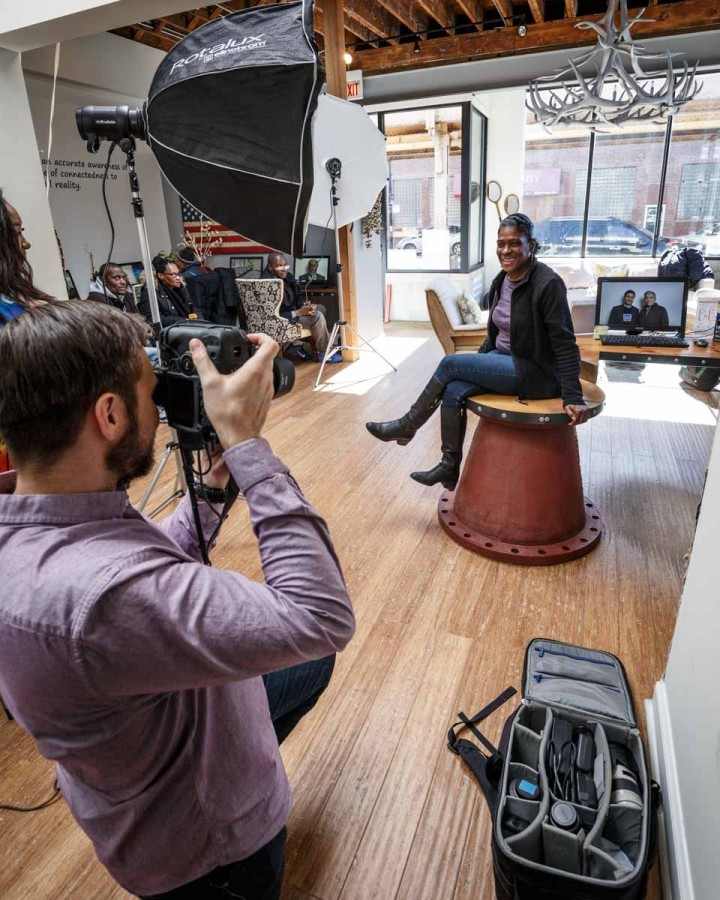 Behind the scenes chicago environmental potrait photographer
