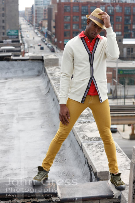""" liked standing on the roof, it was exciting, a little bit cold, but exciting. I wasn't really scared, except for the few times i looked down, but it gave me a charge. "" - Model Sean Parris"